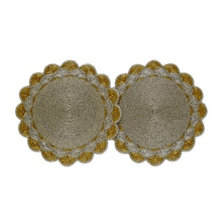 Celebration Scalloped Beaded Placemat Set (Set of 2)