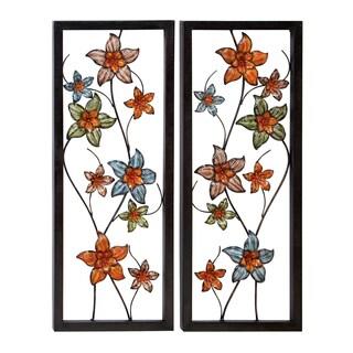 Casa Cortes Floral Three-dimensional Metal Art Wall Decor (Set of 2)