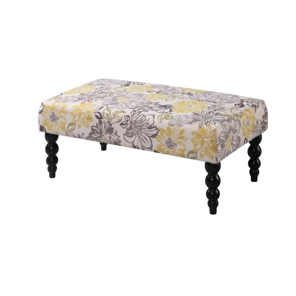 Linon Claire Grey and Yellow Floral Bench