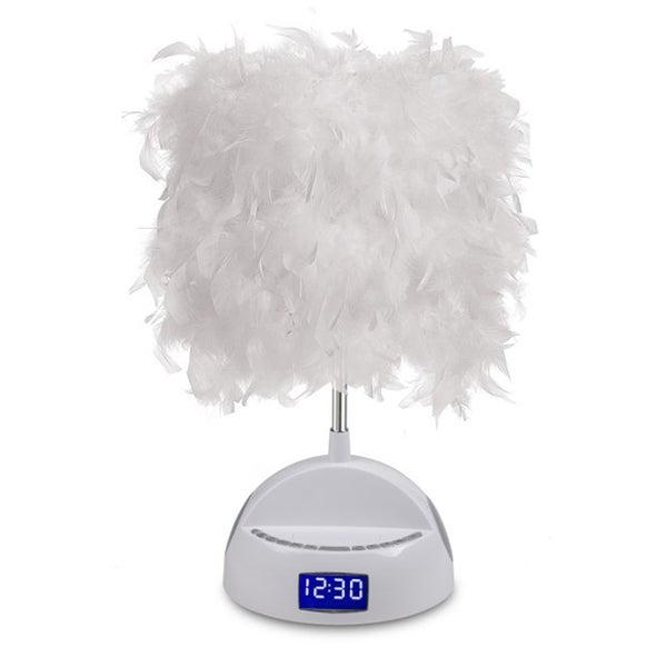 LighTunes Feather Shade White Bluetooth Speaker Lamp with Alarm Clock/ FM Radio/ USB Charging Port