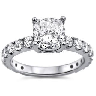18k White Gold 1 4/5ct TDW Cushion-cut Clarity-enhanced Diamond Engagement Ring (G-H, SI1-SI2)