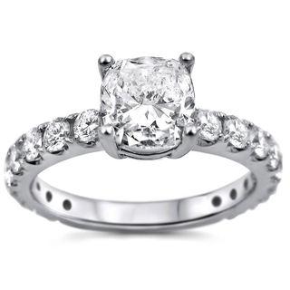 18k White Gold 1 3/5ct TDW Cushion-cut Clarity-enhanced Diamond Engagement Ring (G-H, SI1-SI2)