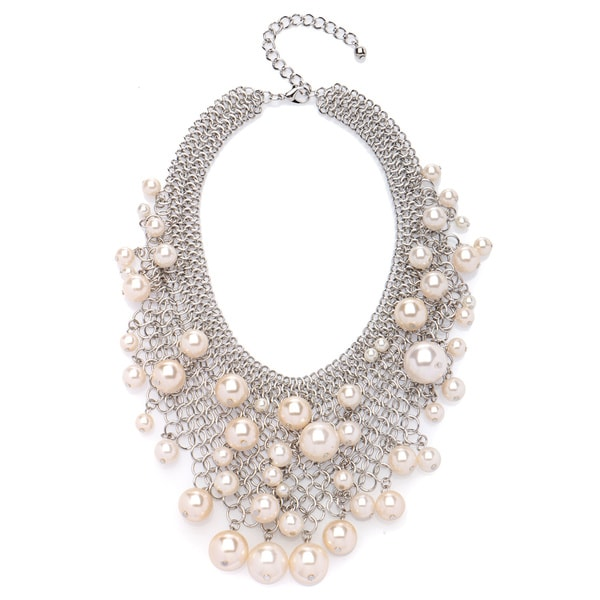 Kenneth Jay Lane Goldtone or Silvertone Mesh Faux Pearl Bib Necklace