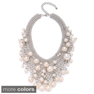 Kenneth Jay Lane Goldtone or Silvertone Mesh Faux Pearl Bib Necklace