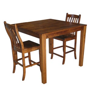 Christopher Knight Home Counter Height Square Solid Maple Wood Table and Chair Set of 2