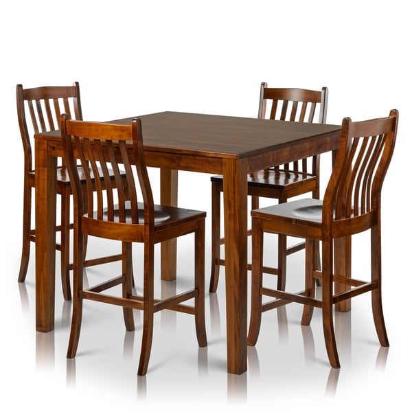 Counter Height Unfinished Chairs : ... Home Counter Height Square Solid Maple Wood Table and Chair Set of 4