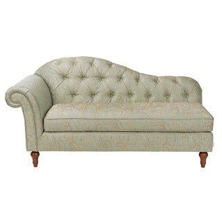 Amelia beige linen victorian chaise lounge for Bellagio button tufted leather brown chaise