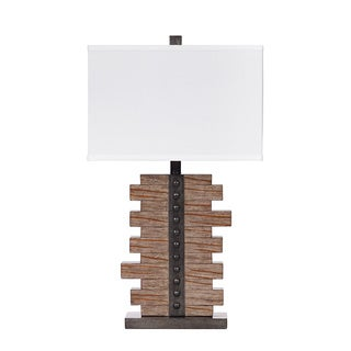 Signature Design by Ashley Sakina 1-light Bronze/ Faux Leather Table Lamp (Set of 2)