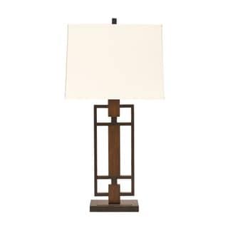 Signature Design by Ashley Omaris Bronze/ Wood Finish Metal Table Lamp (Set of 2)