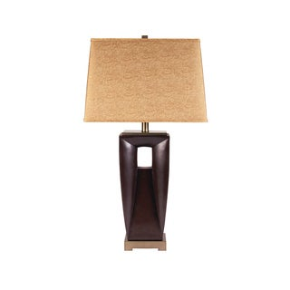 Signature Design by Ashley Ivette Dark Brown/ Brass Poly Table Lamps (Set of 2)
