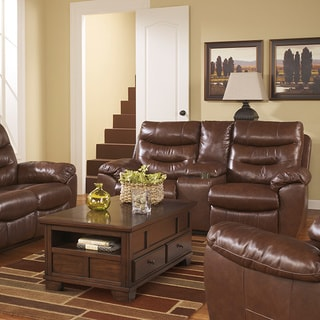 Signature Design by Ashley Arjen Copper Double Reclining Power Loveseat with Console