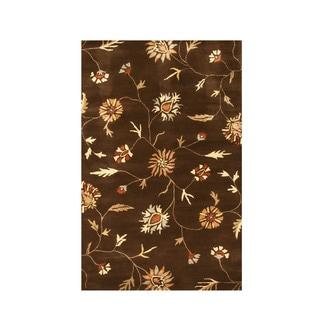 EORC Modern Brown Floral Hand-tufted Wool Rug (5' x 8')