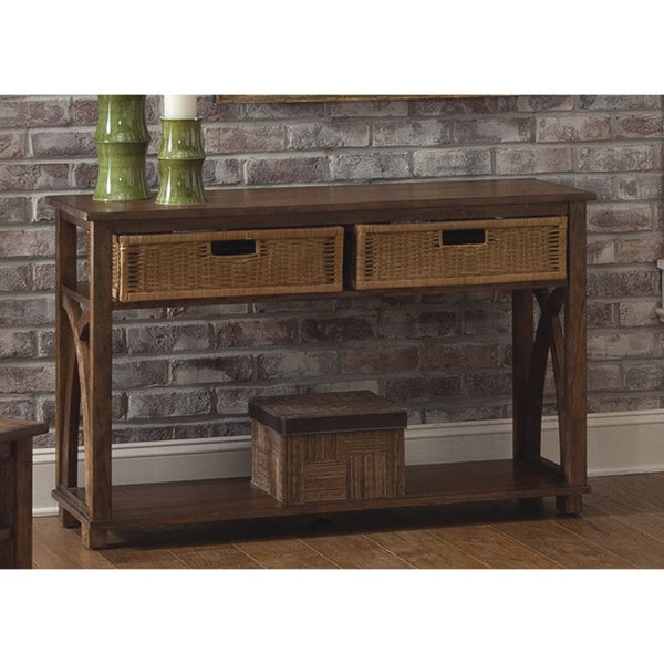 Liberty Oak Sofa Table with Basket Storage