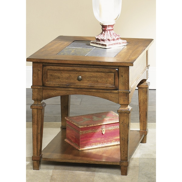 Liberty Slate Tile and Oak End Table