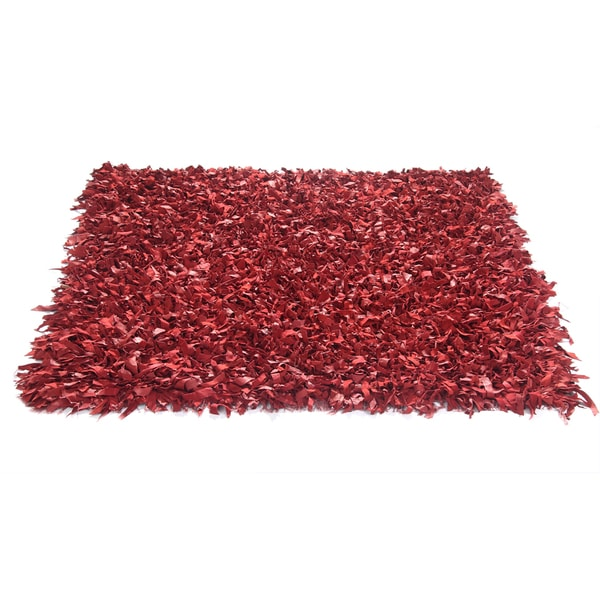 Leather Shagg Red Area Rug (3.6' x 5.6 ')