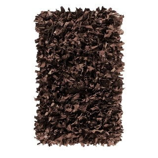 Leather Shaggy Brown Area Rug (21' x 33')