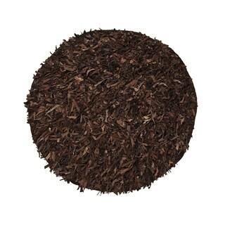 Leather Shaggy Round Dark brown Area Rug (4.9' Round)