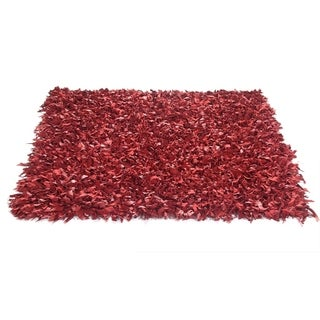 Leather Shaggy Red Area Rug (21' x 33')