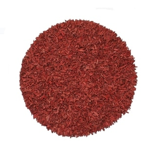 Leather Shaggy Round Red Area Rug (4.9' Round)