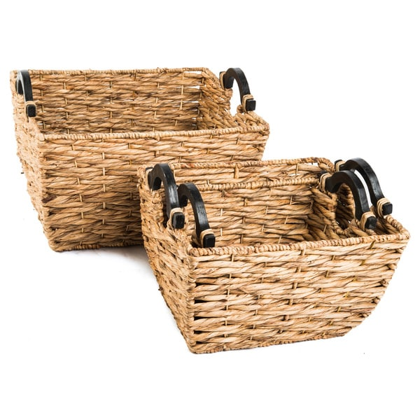 Set of 3 Water Hyacinth Harmonized Nesting Baskets (Vietnam)