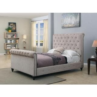 Beige Tufted Upholstered Sleigh Bed