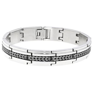 Stainless Steel Black Ion-plated Tire Pattern Bracelet