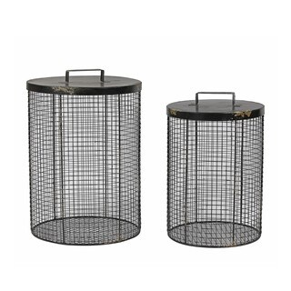 Round Black 2-piece Metal Mesh Storage Basket Set