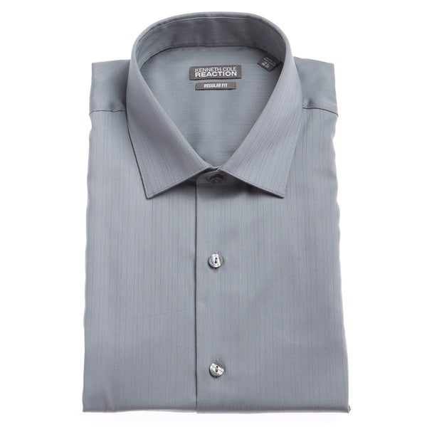 Kenneth Cole Men's Reaction Grey Textured Striped Dress Shirt