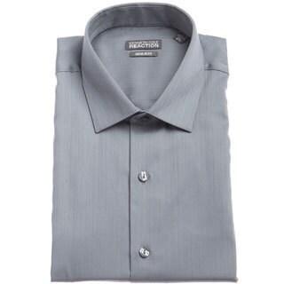 Kenneth Cole Men's Reaction Grey Textured Striped Dress Shirt