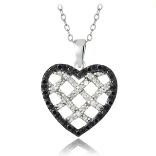 DB Designs Sterling Silver 1/2ct TDW Blue or Black and White Diamond Heart Necklace (G-H, I2-I3)
