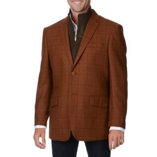 Prontomoda Europa Men's Rust Plaid Wool/ Cashmere Sportcoat