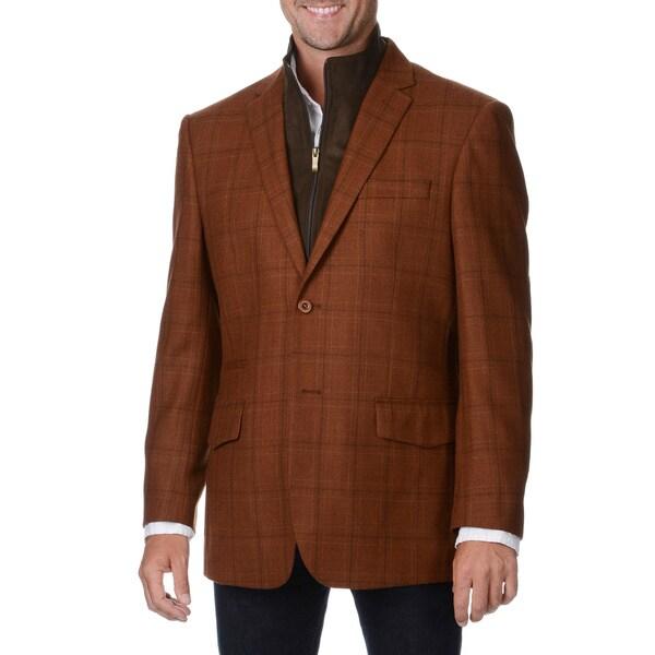 Prontomoda Europa Men's Rust Plaid Wool/ Cashmere Sportcoat