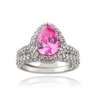 ICZ Stonez Sterling Silver 3 1/5ct TGW Pink Cubic Zirconia Ring Set
