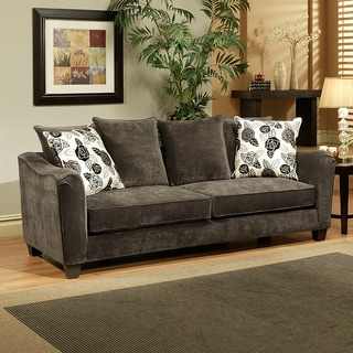 Furniture of America Dorianne Grey Micro-Suede Sofa