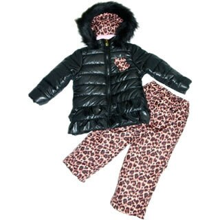 Mint Girl Toddler-size Black and Leopard Two-piece Snowsuit