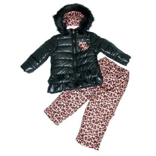 Mint Girl Black and Leopard Print Two-piece Snowsuit (Sizes 4-6X)