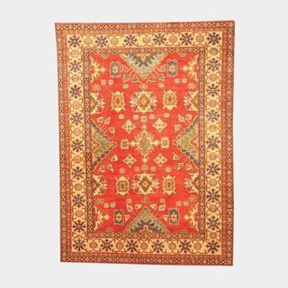 Herat Oriental Afghan Hand-knotted Tribal Kazak Red/ Tan Wool Rug (6'2 x 8'7)