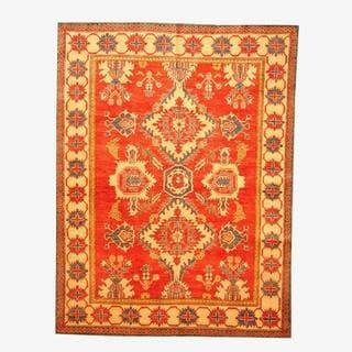 Herat Oriental Afghan Hand-knotted Tribal Kazak Red/ Tan Wool Rug (6'3 x 8'3)