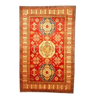 Herat Oriental Afghan Hand-knotted Tribal Kazak Red/ Tan Wool Rug (6'6 x 10'1)