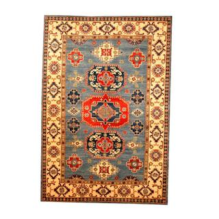 Herat Oriental Afghan Hand-knotted Tribal Kazak Blue/ Beige Wool Rug (6'3 x 9')