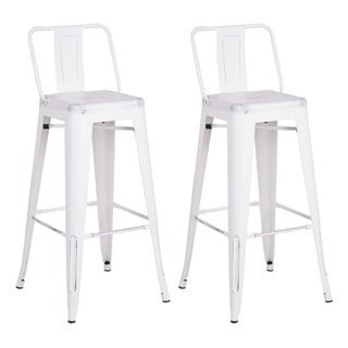 White Vintage Industrial Stainless Steel Bar Stools (Set of 2)
