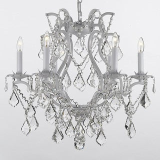 Gallery Versailles 6-light White Wrought Iron Crystal Chandelier