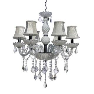 Gloria White Crystal 6-light Candelabra Chandelier
