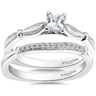 Valina 14k White Gold 3/5ct TDW Princess-cut Diamond Bridal Ring Set (F-G, SI1-SI2)