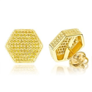 Sterling Silver 3/4ct TDW Pave-set Yellow Diamond Earrings (SI1-SI2)