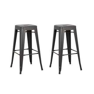 Black Stainless Steel Vintage Industrial Barstools (Set of 2)