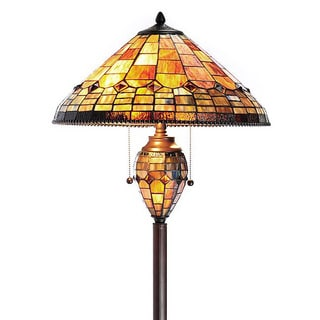 Tiffany-style Aquastone Double Lit Beaded Floor Lamp