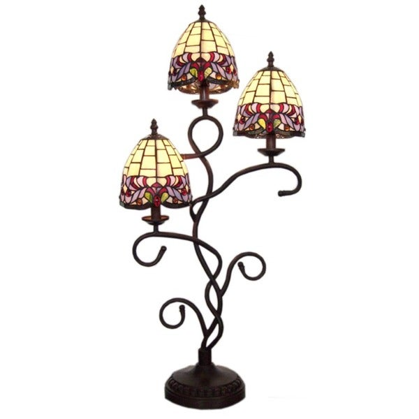 Tiffany-style Three-shade Table Lamp