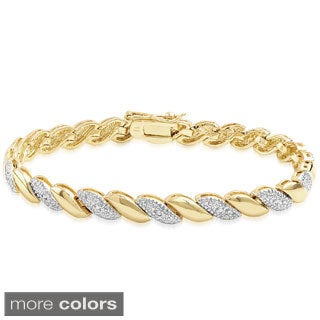 Finesque Yellow or Rose Gold Overlay Diamond Accent Stripe Design Bracelet