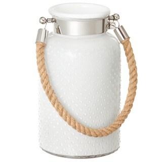 Large White Hobnail Glass Lantern